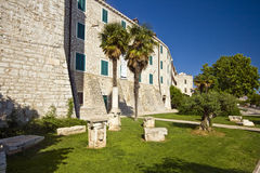Medival Prince`s palace in Sibenik. Medival Prince`s palace with Roman columns in front on the Sibenik waterfront Royalty Free Stock Images