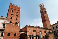 Mediveal architrcture in Italy. Palazzo di Cansignorio and Torre dei Lamberti, view from Piazza Signori in Verona, Italy Stock Image