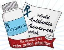 Medizin-Flasche und medizinische Verordnung, die Weltantibiotische Bewusstseins-Woche, Vektor-Illustration gedenken vektor abbildung