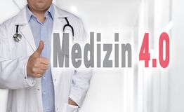 Medizin 4.0 in german Medicine concept and doctor with thumbs Stock Photo
