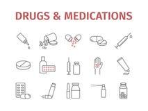 Medizin mischt Pillen Drogen bei Versorgungslinie der medizinischen Bedarfe Ikonen eingestellt Vector Zeichen vektor abbildung