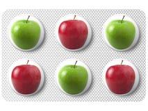 Medizin mit Apfel stockfoto