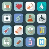 Medizin-Netz-Farbikonen eingestellt Lizenzfreies Stockbild