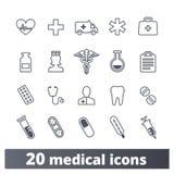 Medizin-und Gesundheitswesen-Entwurfs-Ikonen-Sammlung stock abbildung