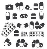 Medizin und Tabletten, Pillenkapseln medizinisch Vektorsatz bla Stockbilder