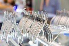 Medizinausrüstung, zahnmedizinische Gerätmakroansicht stockfoto