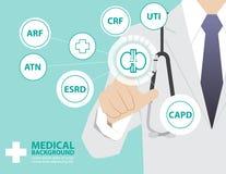 Medizindoktor, der mit moderner virtueller Technologie, Hand zu arbeitet Stockfotos