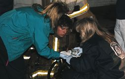 Mediziner arbeiten an verletztem Feuerwehrmann lizenzfreies stockbild
