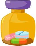 Medizinflasche und -tabletten Stockbild