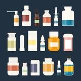 Medizinflaschensammlung Flaschen Drogen, Tabletten, Kapseln und Sprays Auch im corel abgehobenen Betrag vektor abbildung