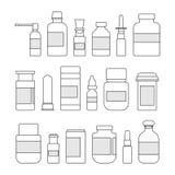 Medizinflaschensammlung Flaschen von Drogen, von Tabletten, von Kapseln und von Sprayillustration stock abbildung