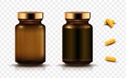 Medizingläser und -kapseln stock abbildung