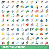 100 Medizinikonen eingestellt, isometrische Art 3d Lizenzfreies Stockbild