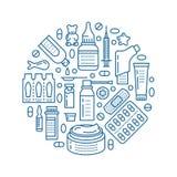 Medizinisch, Drugstoreplakatschablone Vector Medikamentlinie Ikonen, Illustration von Dosierungsformen - Tablette, Kapseln, Pille stock abbildung
