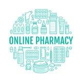 Medizinisch, Drugstoreplakatschablone Vector Medikamentlinie Ikonen, Illustration von Dosierungsformen - Tablette, Kapseln, Pille lizenzfreie abbildung