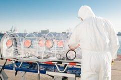 Medizinische Ausrüstung für ebola oder Viruspandemie Stockbild