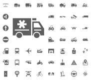 Medizinische Autoikone Gesetzte Ikonen des Transportes und der Logistik Gesetzte Ikonen des Transportes Lizenzfreies Stockbild
