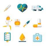 Medizinische Behandlung und Gesundheit lokalisierten die eingestellten Ikonen Lizenzfreie Stockbilder