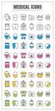 Medizinische dünne Linie Farbschwarzes blaues rosa Gelbgrün vecto der Ikonen lizenzfreie abbildung