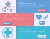 Medizinische Fahne gesetztes Gesundheit, medizinische Behandlung und Krankenhauskonzept Stockfotos