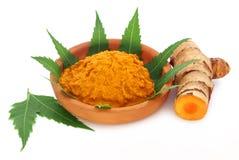 Medizinische Gelbwurzpaste mit neem Blättern Lizenzfreies Stockfoto