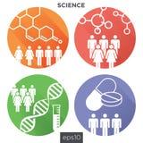 Medizinische Gesundheitswesen-Ikonen mit den Leuten, die Krankheit entwerfen Lizenzfreie Stockfotografie