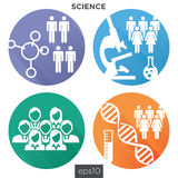 Medizinische Gesundheitswesen-Ikonen mit den Leuten, die Krankheit oder wissenschaftliche Entdeckung entwerfen Lizenzfreies Stockfoto