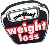 Medizinische Gewichtsverlust-Skala-Wort-Hilfsunterstützung überwachte Diät Lizenzfreies Stockbild