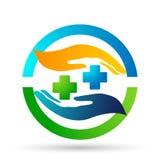 Medizinische Handreichungen interessieren sich Handlogoikonen-Vektorentwürfe auf weißem Hintergrund stock abbildung