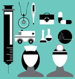 Medizinische Ikone eingestellt in Vektor Lizenzfreie Stockbilder
