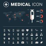 Medizinische Ikone stellte mit großer Spritze und Weltkarte auf dunklem Hintergrund ein lizenzfreie abbildung