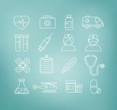 Medizinische Ikonen in der dünnen Linie Design-Art Lizenzfreies Stockfoto