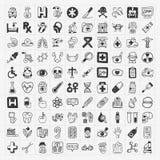 100 medizinische Ikonen des Gekritzels eingestellt Stockfotos