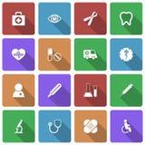 Medizinische Ikonen eingestellt mit langem Schatten Lizenzfreies Stockbild