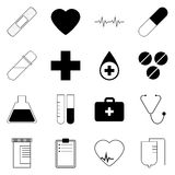 Medizinische Ikonen stellten ein Photorealistic Ausschnittskizze Lizenzfreies Stockfoto