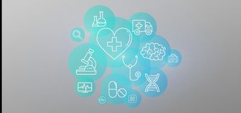 Medizinische Ikonen- und Verbindungs3d Wiedergabe Lizenzfreie Abbildung