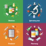 Medizinische Illustration eingestellt mit pharmazeutischen Elementen Pillen und Drogen Doktor oder klinisches Labor E lizenzfreie abbildung