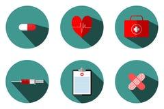 Medizinische Illustrationen umfassen: Blutbeutel, Reagenzgläser, Spritzen, Herz pumpt Kasten Pasteur-erster Hilfe, Behandlungstab stock abbildung