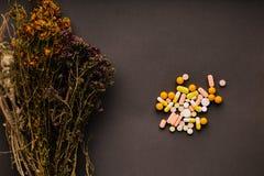 Medizinische Kräuter und Tabletten auf dem Tisch Stockfotografie
