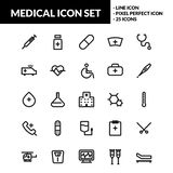 Medizinische Linie Ikonensatz lizenzfreie abbildung