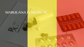 Medizinische Marihuanablätter schließen herauf Hanf-Knospen mit Doktoren Prescription für Unkraut und Pillen auf weißem Hintergru lizenzfreie abbildung