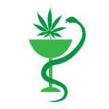 Medizinische Marihuanalogoikone Medizinischer Hanf Auch im corel abgehobenen Betrag Lizenzfreies Stockbild