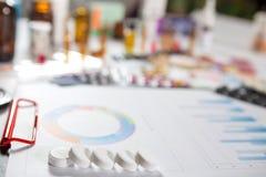 Medizinische Marketing- und Gesundheitswesenunternehmensanalyse berichten mit Diagramm Lizenzfreies Stockfoto