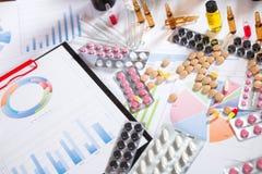 Medizinische Marketing- und Gesundheitswesenunternehmensanalyse berichten mit Diagramm Stockbilder