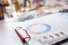 Medizinische Marketing- und Gesundheitswesenunternehmensanalyse berichten mit g Lizenzfreies Stockfoto