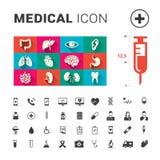 Medizinische menschliche Organe und medizinische Ikone stellten mit großer Spritze ein stock abbildung