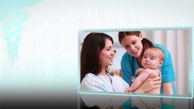 Medizinische Montage von Schwangerschaft zu Kindheit stock video footage