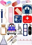 Medizinische Nachrichten, Ikonen und Zeichen lizenzfreie abbildung