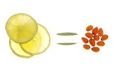 Medizinische orange Frucht und Zitrone Lizenzfreie Stockbilder