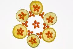 Medizinische orange Frucht und Zitrone Stockbild